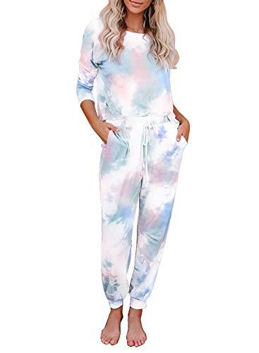 Hawiton algodón Pijamas Mujer, Mangas Larga Camiseta y Pantalones de Lunares ondulados Conjunto de Ropa de Dormir 2 Piezas,Talla Grande