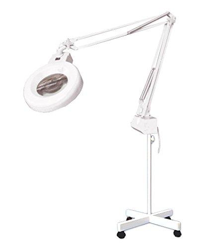 Lampara Flexo-lupa profesional con luz fluorescente. 3 aumentos. Pie metalico con ruedas. 220v