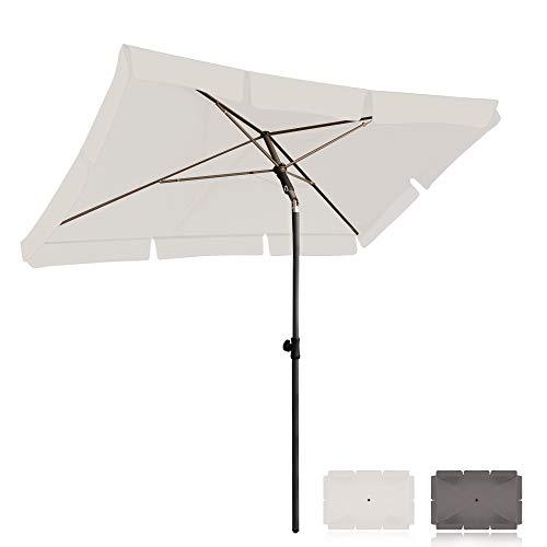BelleMax Sonnenschirm Balkon rechteckig 200 x 125 cm Gartenschirm Marktschirm Terrassenschirm mit Schutzhülle Creme Sonnenschutz UV50+