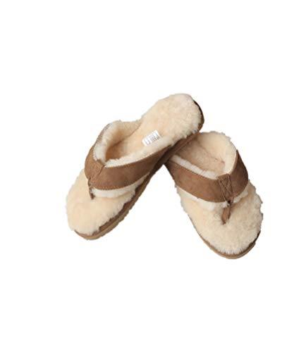 Winter Real Sheep Fur Genuine Sheep Leather One Fur Flip Flops Warm Slides with Fur Lined Women Men Unisex Suede Thong Khaki