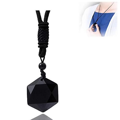 WENLIANG Collar De Obsidiana Negra,Amuleto De Hexagrama, Cadena De SuéTer, Colgante Accesorio,Collar De Piedra De Estrella Hexagrama para Unisex Cuerda Negra