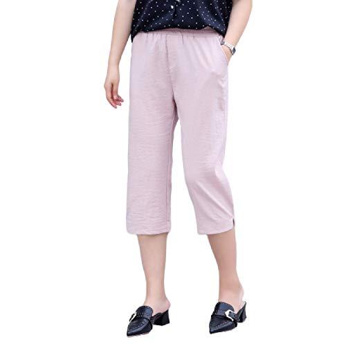 Senderismo para Mujer Color sólido Elástico Tallas Grandes Talle Alto Micro Plisado Pantalones relajados Moda Casual Pantalones recortados 6XL