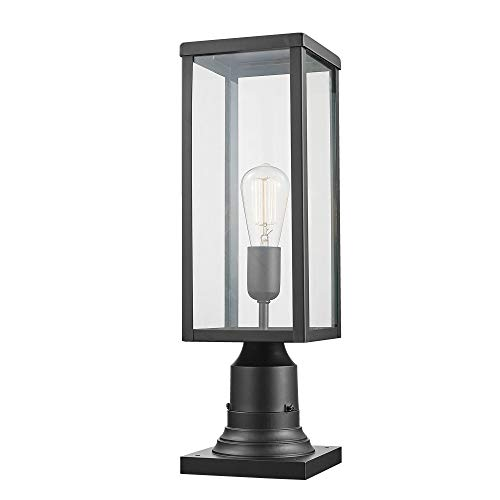 Globe Electric 44384 Bowery 1 Outdoor Lamp Post Light Fixture with Base Adaptor, Matte Black, Clear Glass Inserts