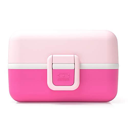 monbento - MB Tresor rosa Litchi Brotdose Kinder mit Trennwand - Bento Box Kids mit Fächer - Individuell Gestaltbar - Snack Box