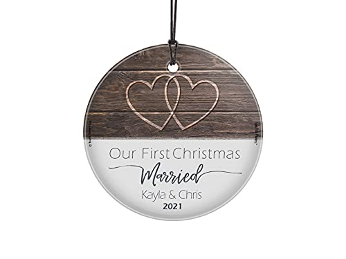 Our First Christmas Married Glass Ornament – Personalized Rustic Double Hearts Farmhouse – Suncatcher Hanging Print Christmas Tree Date Display 3.5' Circle | Complimentary Red Velveteen Gift Bag