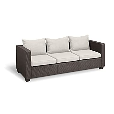 Keter Salta 3-Seater Seating Patio Sofa with Sunbrella Cushions in a Resin Plastic Wicker Pattern, Rich Brown