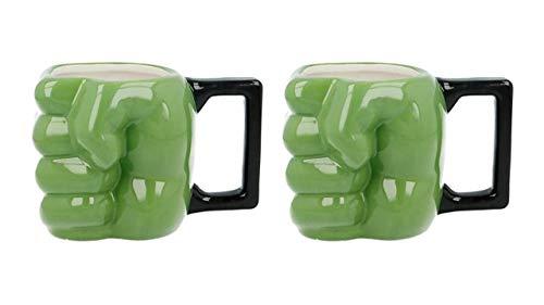 3591; lote de 2 tazas de Cerámica 3D Hulk; puño de Hulk; Capacidad 450 ml; no apto para microondas, no recomendado lavavajillas