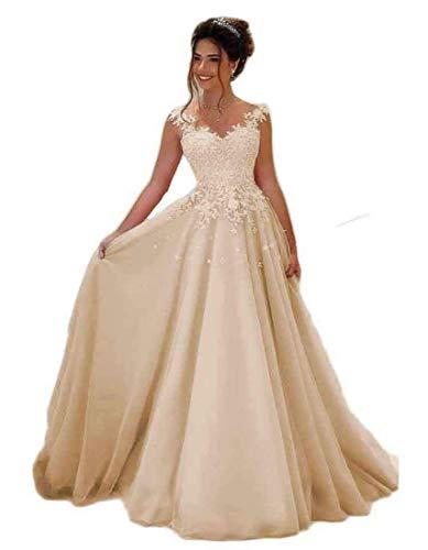 Beyonddress Damen Abendkleider Lang Hochzeit Spitze Prinzessin Ärmellos Brautkleid Ballkleider(Champagner,44)