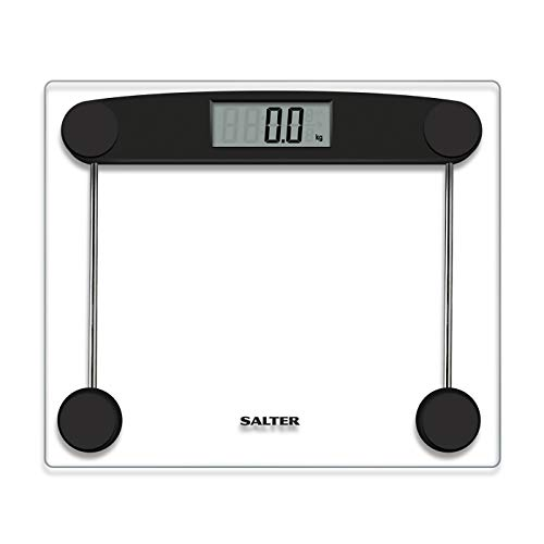 SALTER digitale personenweegschaal, elektronische weegschaal van gehard glas, meting van het lichaamsgewicht metrisch/imperiaal, gemakkelijk leesbaar display, nauwkeurige aflezing in stappen van 50 g