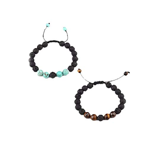 2PCS Unisex Adjustable Lava Stone Diffuser Bracelet Meditation Healing Natural Volcano Stones Bracelets Jewelry Set