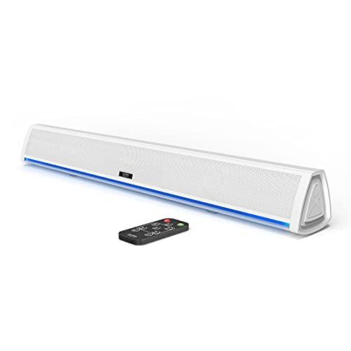 Barra de Sonido TV con Bluetooth, Soundbar para Television, Videojuegos, Música, Barras de Sonido Altavoces para TV Home Cinema, Oficina y PC con Mando a Distancia (Blanco)