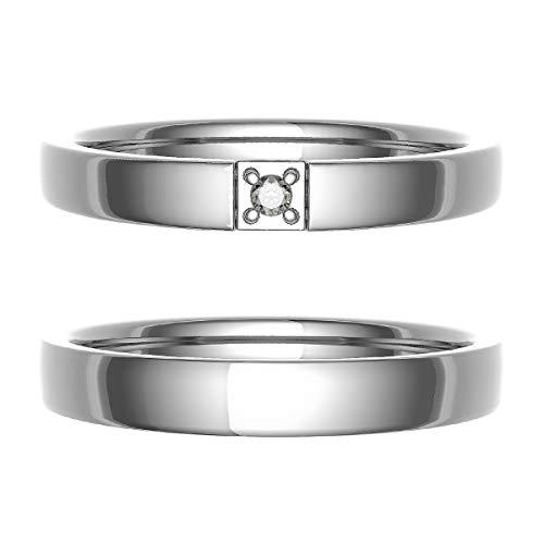 [ココカル]cococaru ペアリング 結婚指輪 シルバー 2本セット マリッジリング ダイヤモンド 日本製(レディースサイズ5号 メンズサイズ11号)