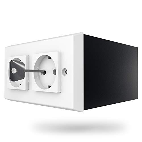 Caja fuerte con enchufe, con compartimento secreto camuflado como enchufe, incluye 2 llaves, caja fuerte de pared, mini caja...