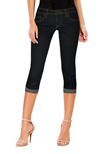 Hybrid & Company Women's Perfectly Shaping Stretchy Denim Capri Q22881 Black 15