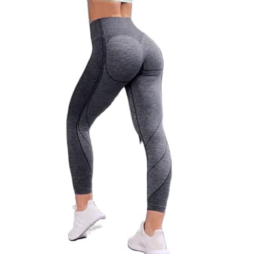 QTJY Medias de Cintura Alta para Mujer, Pantalones Deportivos sin Costuras, Pantalones de Yoga, Flexiones, Entrenamiento, Celulitis, Pantalones para Correr A L