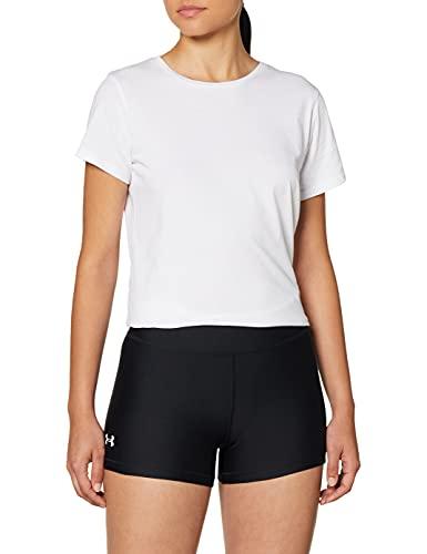 Under Armour Pantalones Cortos Deportivos Transpirables de Secado rápido con compresión HG Armour Mid Rise Shorty, Mujer, 1360925-001, Negro, Blanco, Extra-Small