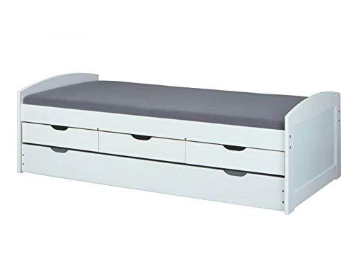 RASANTI 90x200 Funktionsbett Ulli von Interlink Massivholz weiß lackiert