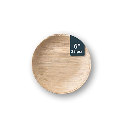 """TheClearConscience - 6"""" Small Palm Leaf Salad Plates, round, 25 plates, Bamboo & Wood Style, Biodegradable & Disposable"""
