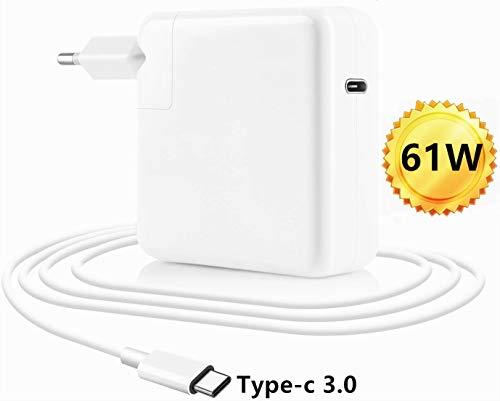 HANLIANG 61W USB-C Type C Cargador para Macbook Pro/Air 13 Pulgadas 2016 2017 2018 PD Type C Cargador con Cables de Carga de 2M y Enchufe de la UE para Otro Dispositivo USB C. (61W)