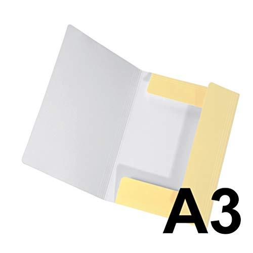 Original Falken Sammelmappe PastellColor. Aus extra starkem Karton mit 3 Klappen und Gummiband für DIN A3 Pastell-Farbe Vanille_Gelb Aufbewahrungs-Zeichen-Mappe für die Schule