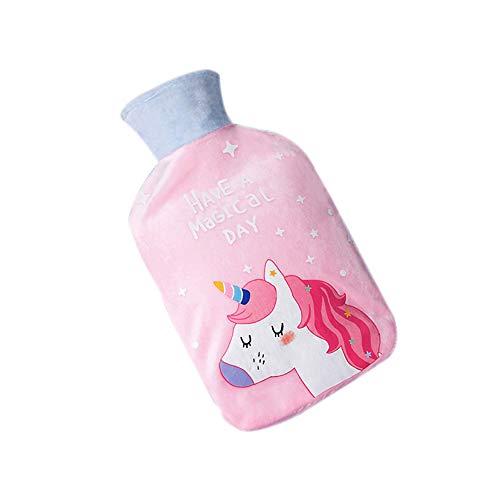 Wärmflasche Mit Kuscheligem Flauschbezug Premium Faux Fur Bag; Junge Mädchen Erwachsener Handwärmer; Rosafarbenes Pferd, 500ML