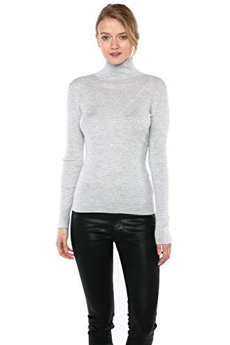 JENNIE LIU Tissue Weight 55% Silk 45% Cashmere Ribbed Long Sleeve Turtleneck Sweater(L, Grey)