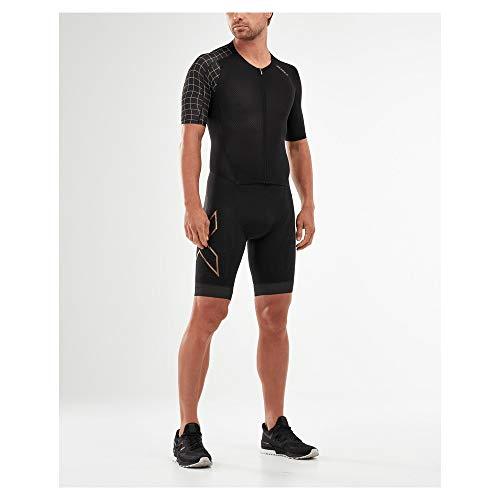 2XU Herren Compression Full Zip Sleeved Trisuit, schwarz/goldfarben, m