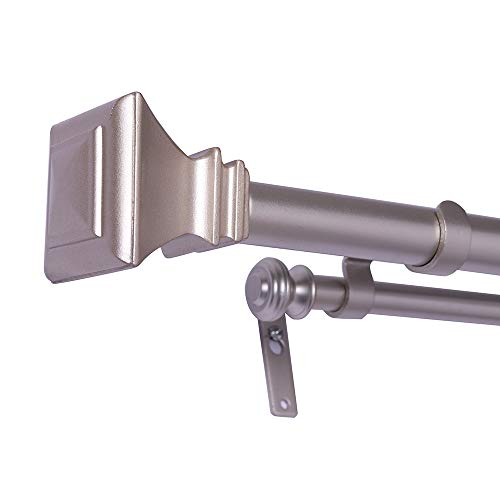 DAINTIER Double Curtain Rod in Champagne with Square Finial 1 Inch Diameter 36-72-inch