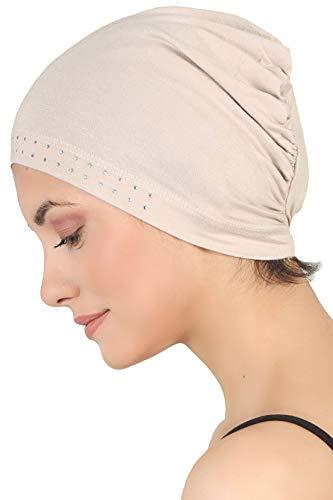 Deresina Headwear Jeweled Wesentliche Baumwollkappe für Haarausfall, Krebs, Chemo (Taupe)