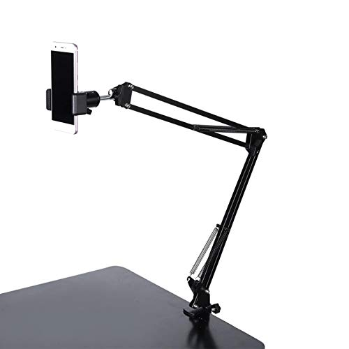 Soporte universal para teléfono celular de brazo largo, soporte flexible para teléfono móvil de montaje perezoso con rotación de 360 ° con clip de teléfono giratorio, para cama, oficina, cocina