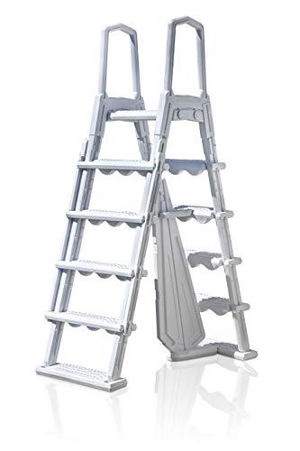 Gre L4PL – Escalera Moldeada para Piscinas elevadas, 4 peldaños, Plataforma, Blanco