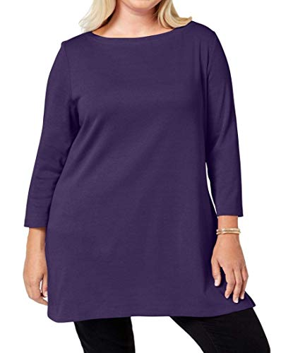 Karen Scott Womens Plus Boatneck Tunic Cotton Boat-Neck Tunic Top Purple 1X