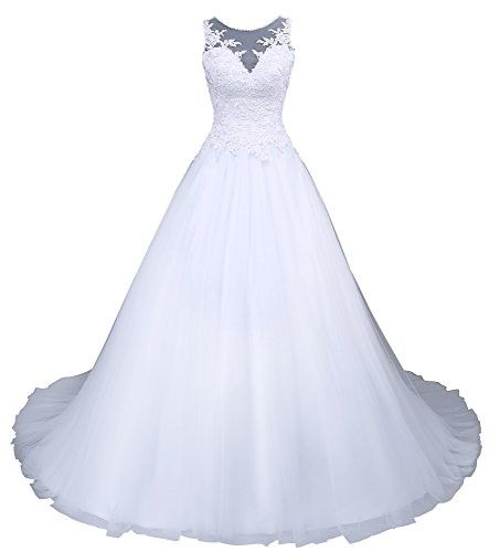 Romantic-Fashion Brautkleid Hochzeitskleid Weiß Modell W045 A-Linie Satin Stickerei Perlen Pailetten DE Größe 44