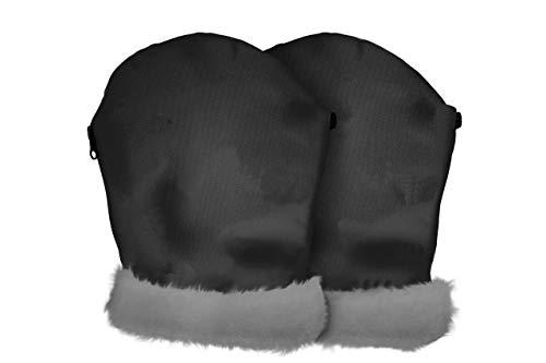 Tris&Ton - Guanti impermeabili invernali per passeggino, in pile antivento Nero