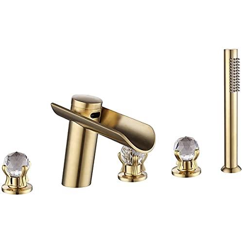 KISAD Grifo para bañera Cascada Bañera Faucet Tina generalizada Faucet Conjunto de Grifo Monte en la Cubierta Faucet Faucet Faucet 5 Orificios Tapa Tap con Cabeza de Ducha de Mano