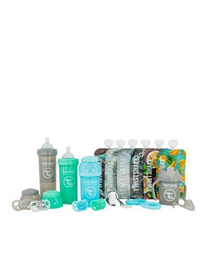 TWISTSHAkE Juego de 3 Biberones, 4 Chupetes, Chupetero, Mordedor refrigerante, Vaso de aprendizaje, 6 Bolsas reutilizables | Sin BPA, Azul/Verde/Gris