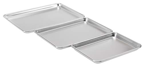 AmazonCommercial Aluminum Baking Sheet Pan Set, Includes 1/4 Sheet, Jelly Roll, and Half Sheet, Pack of 3
