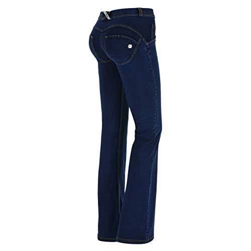 FREDDY Pantalone WR.UP Flare a Vita Regular in Denim Elasticizzato - Jeans Scuro-Cuciture Gialle - XXS