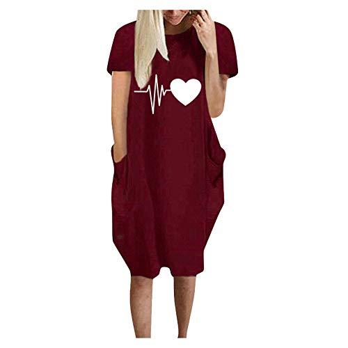 Vestido de verano para mujer, informal, con mangas cortas, informal, largo hasta la rodilla, para el tiempo libre Vino M