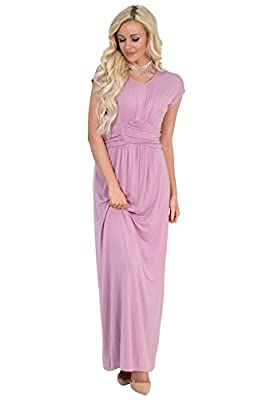 Athena Modest Maxi Dress in Mauve or Dusty Rose Pink - M, Modest Bridesmaid Dress in Dusty Rose or Blush Pink
