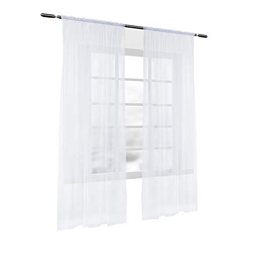 Laneetal Transparente Gardine mit Kräuselband 2 Stücke Fensterschal aus Voile in Weiß 140x245 cm Fenstervorhang für Schlafzimmer Kinderzimmer Küche Vorhang Dekoschal