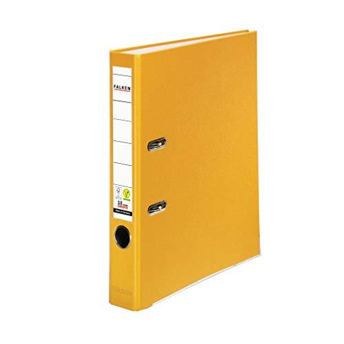 Original Falken PP-Color Kunststoff-Ordner. Made in Germany. 5 cm schmal DIN A4 gelb Ringordner Vegan Aktenordner Briefordner Büroordner Plastikordner Schlitzordner