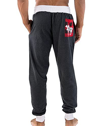 Lazy One Men's Jogger Sweatpants, Cozy, Warm, Pockets, Moose Caboose (X-Large)
