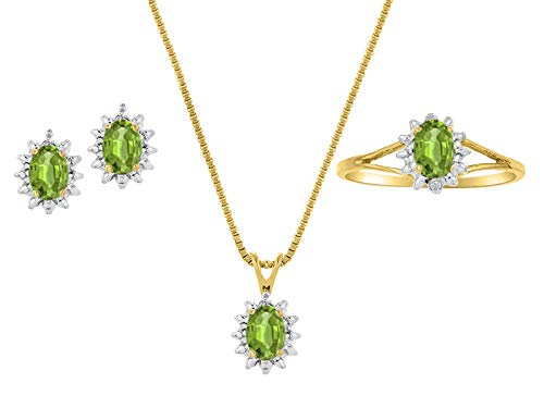 RYLOS Jewelry For Women Yellow Gold Plated Silver Birthstone Jewelry Ring, Earring & Pendant Necklace Gemstone & Genuine Diamonds 6X4MM Birthstone Womens Jewelry Matching Friendship Si