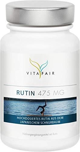 Rutin - hochdosiertes Rutin aus dem japanischem Schnurbaum - 500mg pro Tagesdosis - 180 Kapseln - Vegan - Ohne Magnesiumsalze - German Quality