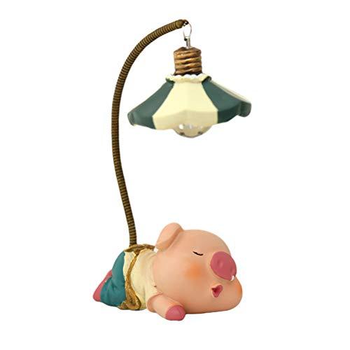 Mobestech Piggy Night Lamp Resin Piggy Night Light Nachtlampe Desktop-Schmuck Micro Landscape Adornment (Pout Pig Lamp)