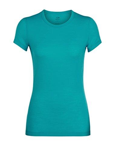icebreaker Damen Merino Sprite Short Sleeve Rundhalsausschnitt Layering Shirt für Rucksackreisen & Camping Merinowolle, Damen, Women's Sprite Short Sleeve Crewe, Arctic Teal, X-Small