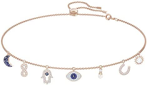 Swarovski Symbolic Collection Women s Choker Style Necklace with Seven Blue and White Crystal product image