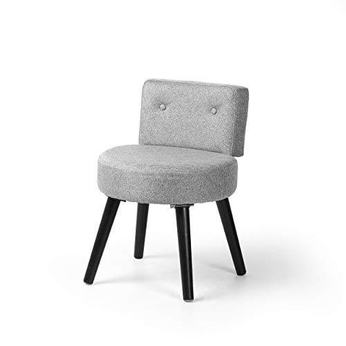 YOUKE Vintager Retro Samt Lounge Sessel, Make-up Schminktisch Hocker, Esszimmerstühle, Küchenstuhl Wohnzimmerstuhl Polsterstuhl (grau)