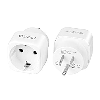 European to US plug adapter Unidapt EU to USA plug adapter converter Europe to American Outlet Plug Adapters Travel Adapter EU to US Adaptor - Type B  2-pack